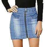 Allegra K Women's Denim Skirts Zip Front Slim Fit High Waist Mini Jean Skirt X-Large Blue