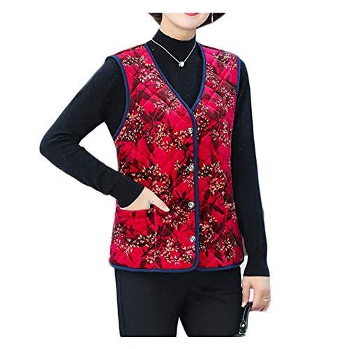 Koala Superstore Chaleco cálido de Invierno Floral Rojo Chaleco de algodón Acolchado para Mujer Ropa Interior Prendas de Abrigo Chaqueta sin Mangas Camiseta sin Mangas