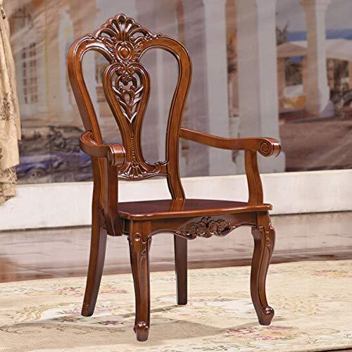 Sillas de Comedor Madera Dura Asiento Silla Retro Americano Ocio sillón for Home Hotel Paquete 2 para Office Salón Comedor Cocina (Color : Marrón, Size : 58x50x106c)