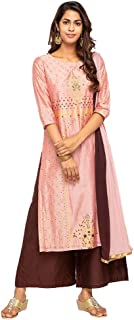 Kashish by Shoppers Stop Womens Round Neck Embroidered Palazzo Suit_Pink