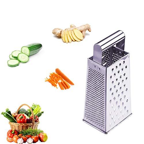 Rallador manual, Rallador manual de cuatro Caras, Rallador de Verduras y Frutas crudas, para Verduras, Queso, Frutas, Jengibre, Rallador de Cocina, multifuncional