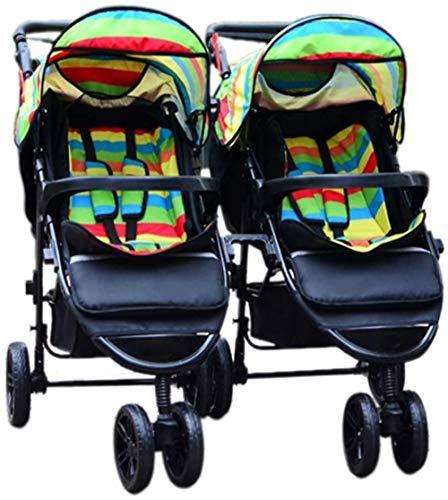 HZYD Poussette Double, Double Tandem Poussette de bébé, 5 Points Ceintures de sécurité, Design Pliable for Easy Transport (Couleur: Violet) (Couleur: Rose), Couleur: Rouge ( Color : Green )