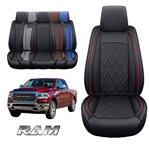 Yiertai Ram 2 Front Car Seat Covers Custom Fit 2009-2021 1500 2500 3500 Pickup Crew Double Quad Cab Laramie Big Horn Waterproof Leather Truck Seat Protectors(2 PCS Front, Black-Red)