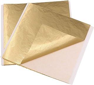 "VGSEBA Gold Leaf Sheets,100 Sheets 5.11"" by 5.31"" Gilding Foil A Gold Foil Paper for Paintings, Arts Crafts, Nails DIY(13x..."