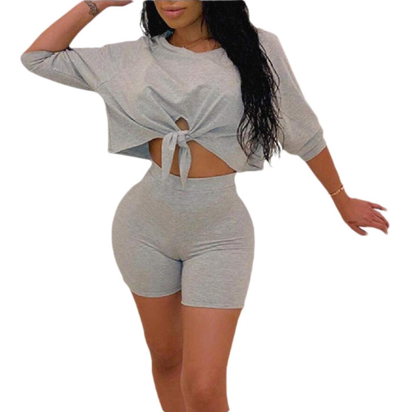 平野ダウンタウンリースWomen 2 Piece Outfit Crop Top Shorts Sweatshirts Tracksuit Set Sweatsuit