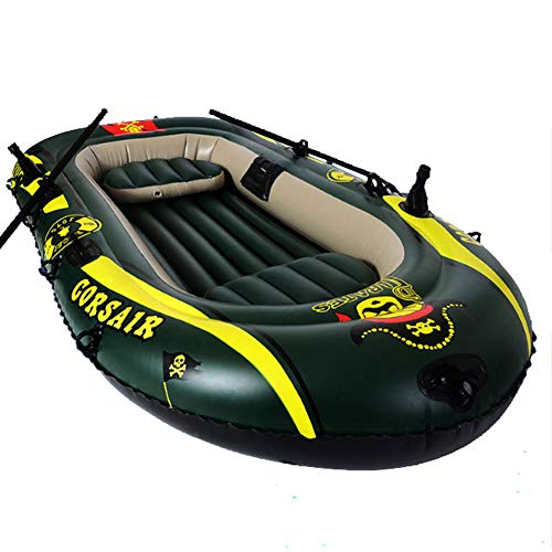 Freedom-Market 2-4 Person Inflatable Boat Thickened Hovercraft Wear-Resisting Kayak Assault Rubber Boats Dinghies for Fishing and Other Entertainment (2 Adults + 1 Kid)