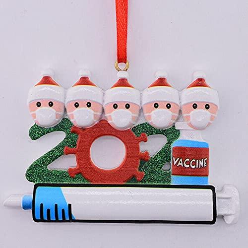 HoitoDeals 1 bola colgante para árbol de Navidad 2021 para decoración festiva del árbol de Navidad (5 miembros)
