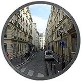 ectxo Miroir convexe de la circulation, incassable, diamètre 30cm, pour la sécurité routière et de la sécurité du magasin avec support de fixation murale réglable