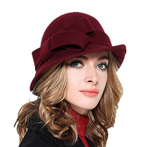YSJOY Bowknot Wool Pillbox Hat Winter Hat Beanie Hat British Style Bowler Hat