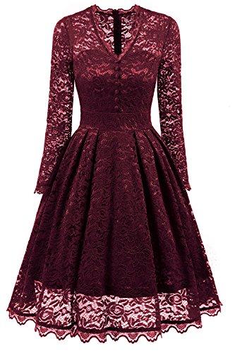 NALATI Women Vintage Long Sleeve V Neck Floral Print Party Cocktail Dress (M, Wine Red)