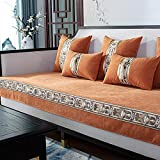 Fsogasilttlv Cubre Antideslizante para sofá de 3 Cojines, sofá de Esquina de Chenilla Four Seasons, Fundas Protectoras para Sala de Estar, Funda para Chaise Longue, Naranja, 110 * 210 cm