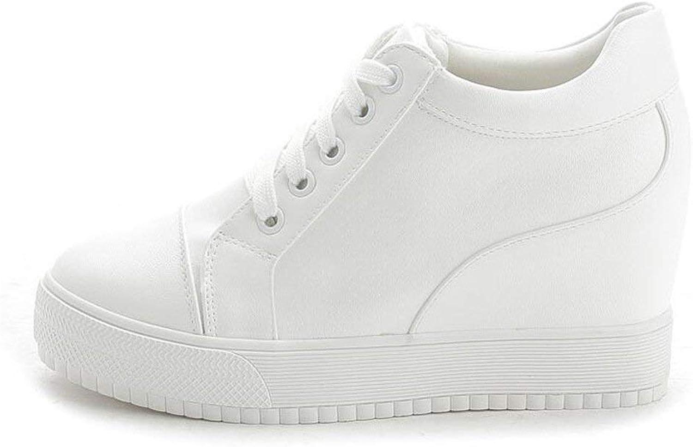 Boolee Women's Casual Platform Wedges Sport shoes Hidden Heel Lace Up Sneakers