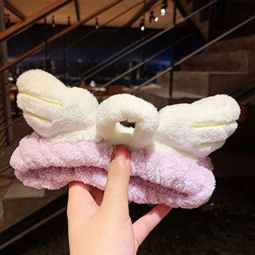 8 PcsSoft Warm Coral Fleece Bow Animal Ears Headband For Women Girls Wash Face Hairband Turban Headwear Fashion Hair Accessories purple angel