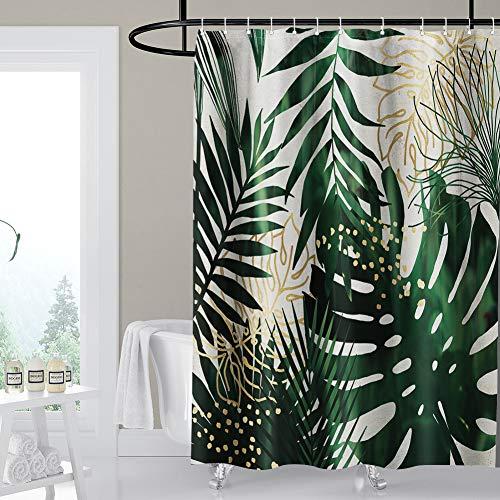 Artscope Duschvorhänge, Duschvorhang Anti-Schimmel, Badvorhang Wasserdicht Antibakteriell Duschvorhang aus Polyester Badezimmer Vorhänge mit 12 Duschvorhangringen, 180x180 cm (Grüne und gelbe Blätter)