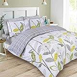 Dreamscene–lujo–Juego de cama con funda de almohada, poliéster/algodón, gris, Single
