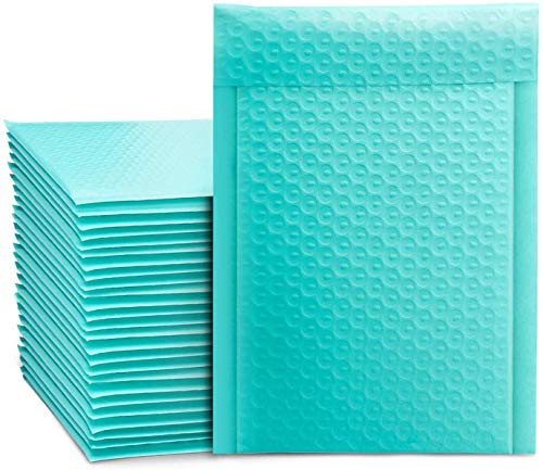 Switory 25 sobres acolchados de burbujas A5 de 15,2 cm x 22,9 cm a granel # 0, bolsas de plástico con forro de burbujas para envío, embalaje, envío, envío, envío, autosellado, verde azulado