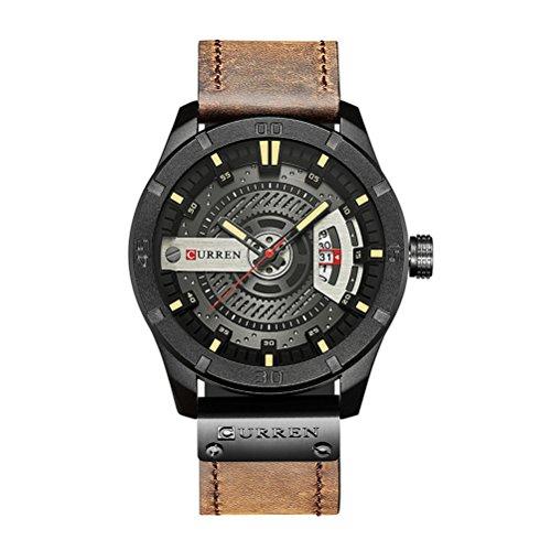 CURREN 8301 Top Brand Luxury Watch Men Date Display Cuero Creativo Cuarzo Relojes de Pulsera de café