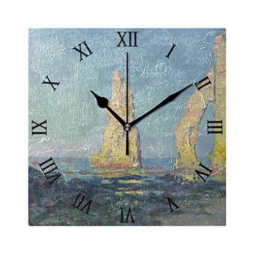 Ahomy Ziffernwanduhr Monet's Manne Porte étretat Sea Rock Cliff 20 cm quadratische Uhr geräuschlos Nicht tickend batteriebetrieben dekorative Wanduhr