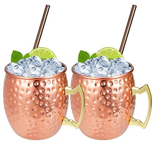 Hossejoy Moscow Mule Becher Umfasst 2 x Kupferbecher 550ML & 2 Trinkhalme – Großartig für Cocktail Gekühlte Getränk – 100% Kupferzubehör Liebhaber