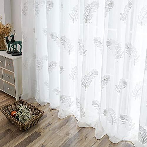 YAHLSEN Gestickte Gardinen for Wohnzimmer Elegantes Garn Vorhänge Feder Weiß Voile Vorhänge Platte, Größe: 100 * 250 cm, Verarbeitung: Rod-Taschen (weiß) Q (Color : White)