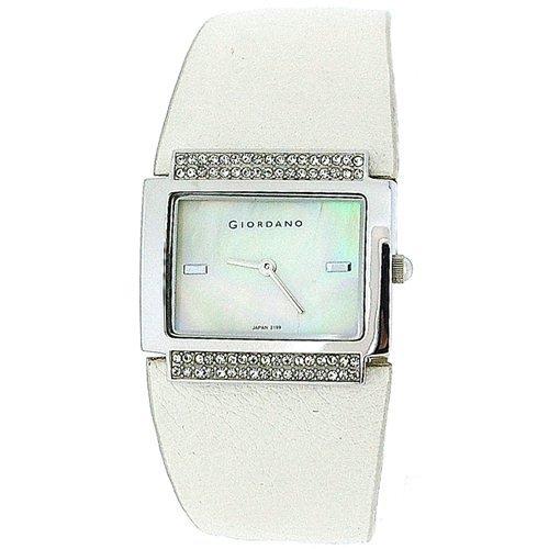 Giordano Damenuhr, Permuttzifferblatt, steinbesetzte Lünette, PU-Uhrband 2199