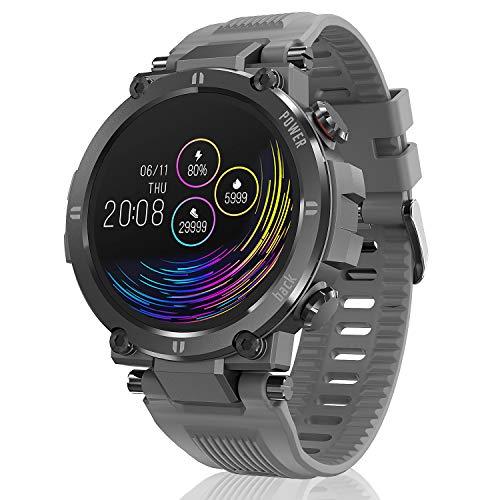 Hopofit Smartwatch, 1.3 Zoll Touchscreen Fitness Armband mit Pulsuhr Blutdruckmessung Schrittzähler Kalorienzähler Sportuhr Wasserdicht IP68 Fitness Tracker fur Damen Herren Android iOS (Grau)