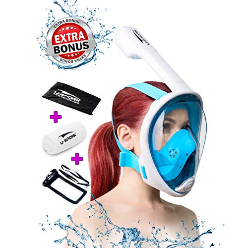 Snorkel Mask Full Face for Kids and Adults - Anti-Fog and Anti-Leak Easybreath Snorkeling Gear - Dive Scuba Mask with 180 Panoramic View and 4 Bonus Items as Snorkel Set (White-Blue, S/M)