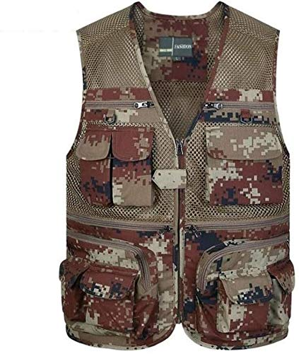 GLYIG Chaleco de malla de secado rápido para hombre con bolsillos, para trabajo de verano, safari, al aire libre, para natación, fotógrafo, barco, kayak, flotantes (color: camuflaje Y, tamaño: XXXXL)