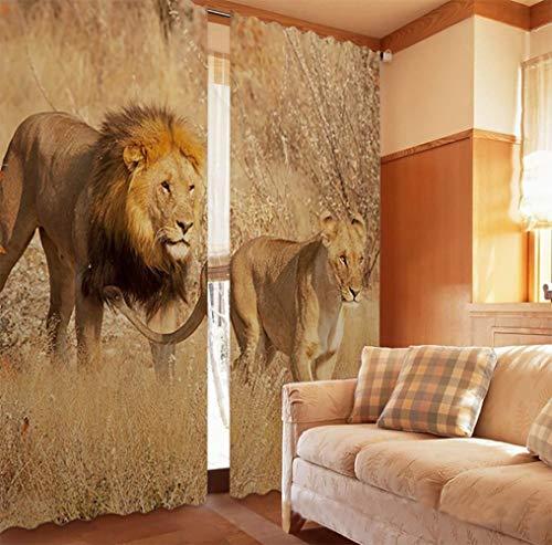 MYLEDI 3D Estampadas León Africano Cortinas Ventana Opacas con Ojales Poliéster Estilo Moderno Elegante para Salón, Dormitorio Y Habitación Decoracion Hogar,1.5X1.66