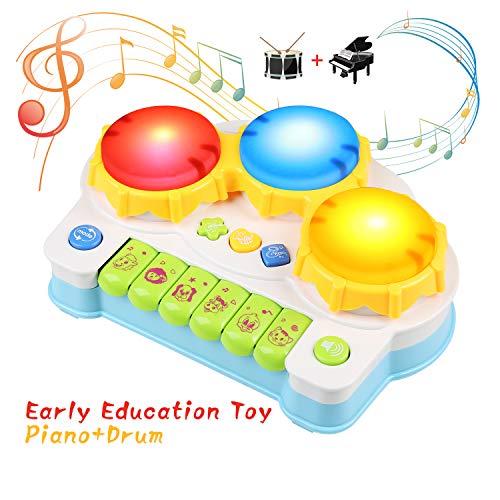 BelleStyle Jouets Musical Piano pour Bébé ,Tambour Jouets musicaux avec lumière et Musique Jouets Musique pour Enfants 3 an+ (Nouveaux Cadeaux pour Les Bébés) (Blue)