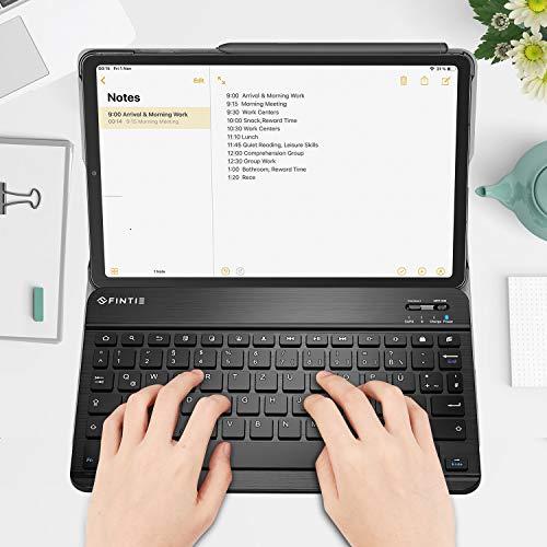 Fintie Tastatur Hülle für Samsung Galaxy Tab S6 Lite 10,4 SM-P610/ P615 2020 mit Stifthalter - Ultradünn Keyboard Case mit magnetisch Abnehmbarer drahtloser Deutscher Tastatur, Schwarz