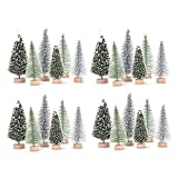 Haiabei 42 Pcs Christmas Tree DIY Bottle Brush Trees Plastic Sisal Trees Miniature Snow Frost Fir with Wood Base for DIY Crafting,Displaying,Desktop Home Decoration Christmas Decoration,6 Styles
