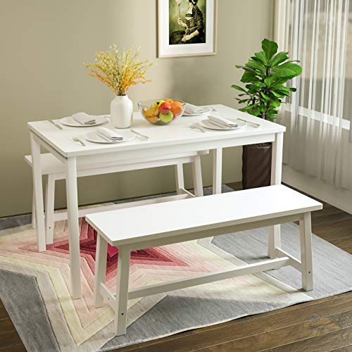Mecor 3-Piece Dining Set Table with 2 Benches, Solid Pine Wood Tabletop and Benches Set for Home Kitchen Dining Room Furniture (White)