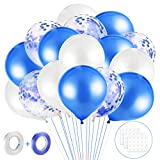MELLIEX 60 Piezas Globos de Confeti Globos de Latex con Accesorios para Globos para Decoracion de Boda Cumpleaños Fiesta San Valentin (Azul y Blanco)