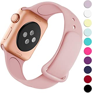 Haveda Bands Compatible with Apple Watch Band 38mm 40mm, Soft Silicone Sport Strap Wristband for Women Men with iWatch Series 4, Series 3, Series 2, Series 1, Pink, 38/40S/M
