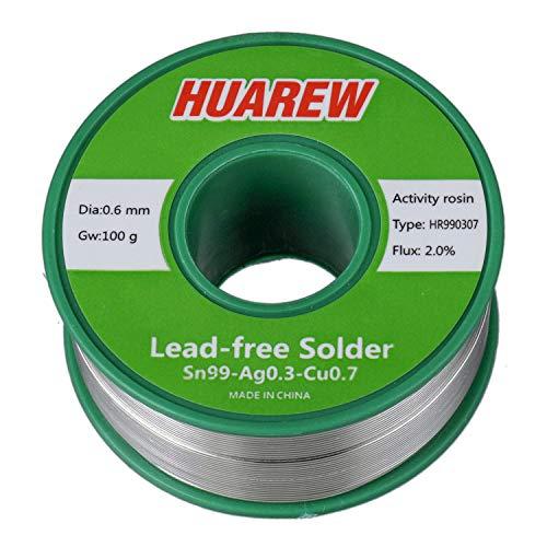 HUAREW HR990307 Sn 99-Ag 0,3-Cu 0,7 fil de soudure sans plomb avec colophane (0,6 mm, 100 g)