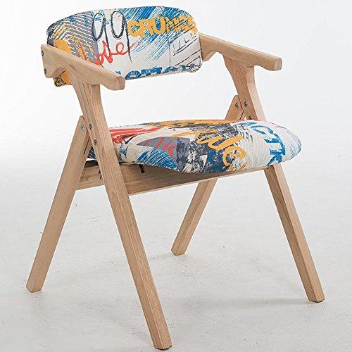 KSUNGB Chaise Pliante en Bois Chaise de Salle à Manger Loisir Chaises de Balcon Étudiant Chaise d'ordinateur Chaise de Bureau Pliant Bois de Caoutchouc Style Graffiti Lin, B