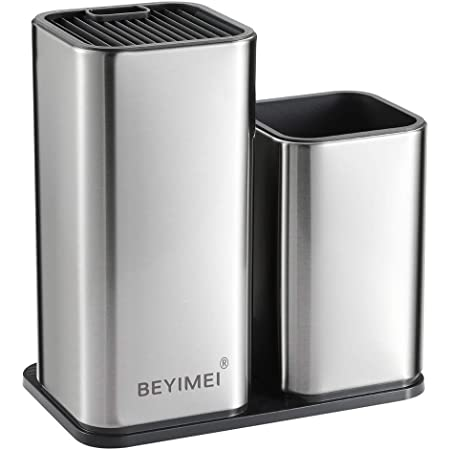 BEYIMEI Universal Knife Block, Stainless Steel Knife Holder - with Scissors Slot, Knife Block-Tableware Holder 2-in-1, Space-Saving Knife Blocks, Holds 12 8-inch Knives, Detachable, Silver