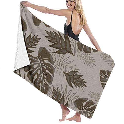 Yaxinduobao Pattern with Palm Leaves Soft Serviette de Bain Highly Absorbent Multipurpose Towels Oversized Serviette de Plage for Travel Bathroom Hotel Gym Spa 31'x 51'