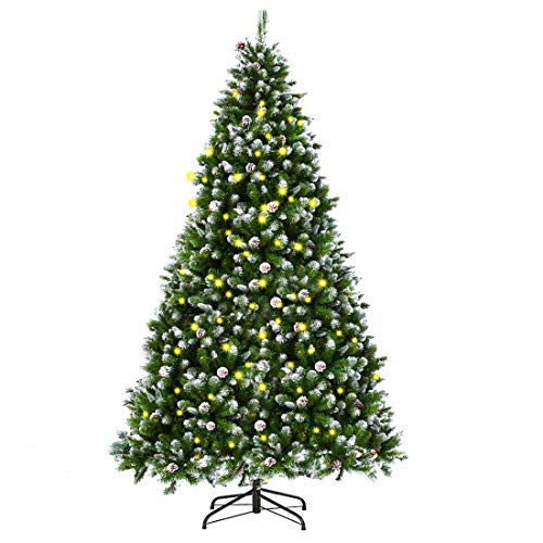 INTERGREAT 7 Ft Prelit Christmas Tree with Light, Indoor/Outdoor Christmas Tree with Pine Cones,1000 Tips Flocked Artificial Xmas Tree with Metal Stand, Easy Assembly (Green/White)