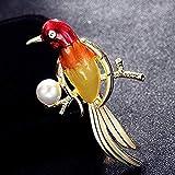 Broche JXtong2 con diseño de pájaro rojo para hombre, imitación de perlas, diseño de animales, regalo de cumpleaños para niños, 7 x 4 cm, 8 cm