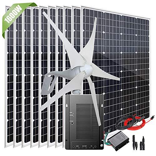 Énergie éolienne solaire de 1600 W système hors réseau pour la maison, kit de chargeur de batterie 12 V avec générateur d'éolienne de 400 W/ 10pcs panneaux solaires de 120 W/contrôleur de charge MPPT
