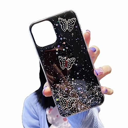 TYWZ Funkeln Handyhülle für Samsung Galaxy Note 10 Plus,Klar Diamant Glitzer Bling Star Schutzhülle Mädchen Frauen Soft TPU Crystal Hülle-Schmetterling,Schwarz