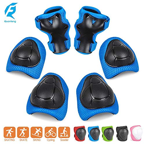 QUANFENG QF Knee Pads Kids Knee and Elbow Pads Wrist Guards Best Knee Pads for Kids Roller Skates Cycling BMX Bike Skateboard Inline Skating Scooter Riding Protector Guards Pads Set (Blue)