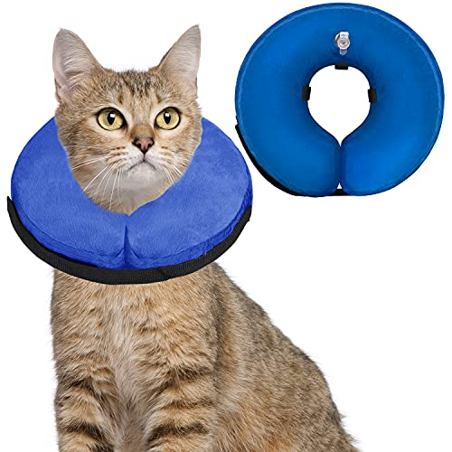 Soft Dog Cone Collar for Large Medium Small Dogs and Cats After Surgery, Inflatable Dog Neck Donut Collar,Inflatable Cat Cone Collar,E-Collar for Dogs Recovery, Dog Cones Alternative (Small, Blue)