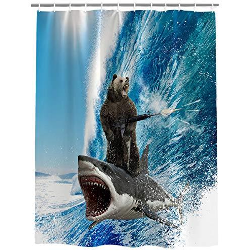 Vandarllin Beach Theme Funny Bear Shark Surfing Fabric Shower Curtain Bathroom Decor Sets with Hooks, Stall 36 X 72 Inch