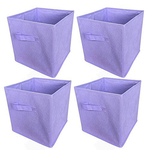 Boîte de Rangement (lot de 4) bac de Rangement Pratique Sans Couvercle 27X27X28CM Violet Clair