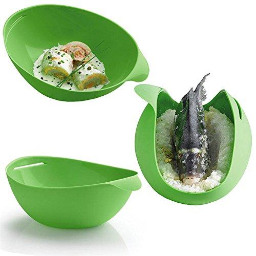 Valink Kitchen Gadgets - Piroscafo pieghevole in silicone, per forno a microonde, verdure, uova, pesce, fornelli, accessori da cucina, 29,3 x 17 x 3,5 cm