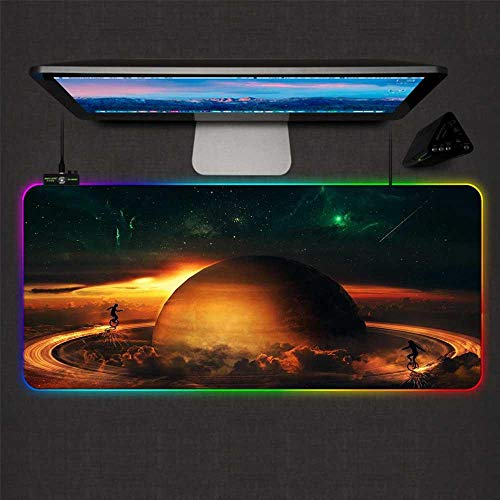 Mouse Pads Starry Sky Planet Saturn RGB Gaming Mouse Pad LED Glowing Non-Slip Rubber Base XXL Mouse Mat for Computer 27.6x11.8 inch