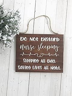 WoodenSign Nurse Gift, Gift for Nurse, Do Not Disturb, Door Sign, Nurse Sleeping, Night Shift Nurse, Sleeping Nurse, Nurse Decor, Door Hanger 7
